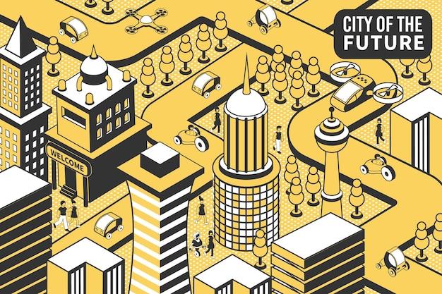 Stad toekomstige isometrische samenstelling met vogelperspectief van futuristische stad met gebouwen