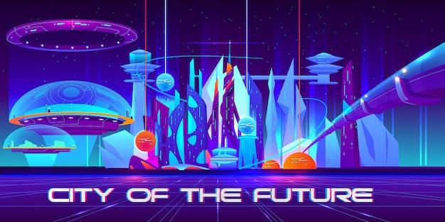Stad van de toekomst 's nachts met gloeiende neonlichten en glanzende bollen.