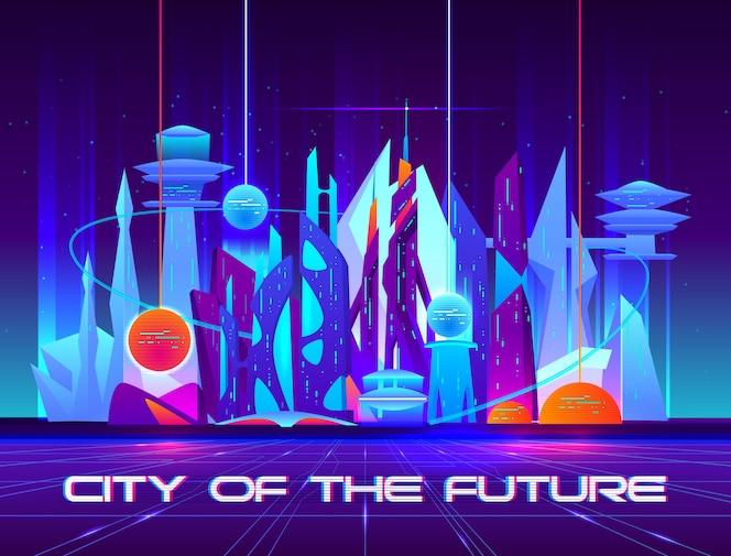 Stad van de toekomst 's nachts met levendige neonlichten en glanzende bollen.