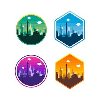 Stad van djakarta label badge sticker logo sjabloon set