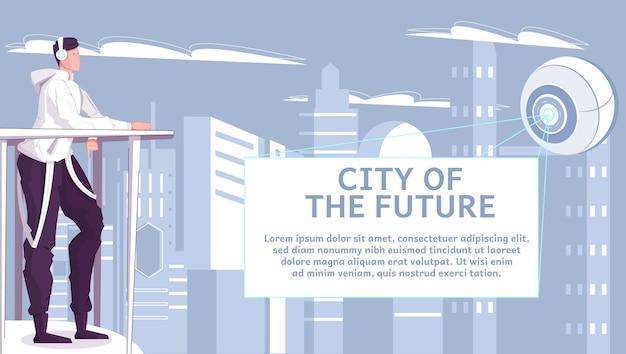 Stad van toekomstige vlakke afbeelding met tiener kijken naar abstract futuristisch object dat lichtstralen uitstraalt en over wolkenkrabbers vliegt