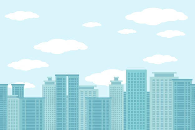 Stad van wolkenkrabbers illustratie met wolken en blauwe hemel