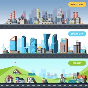 Stad vlak. ecologie industriële slimme stad architectonische objecten verschillende gebouwen fabriek horizontale illustraties