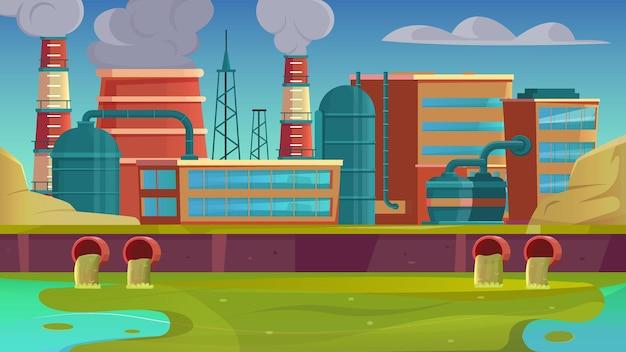 Stad voert vlakke achtergrond af met fabrieksstedelijk landschap en illustratie van riviervervuiling