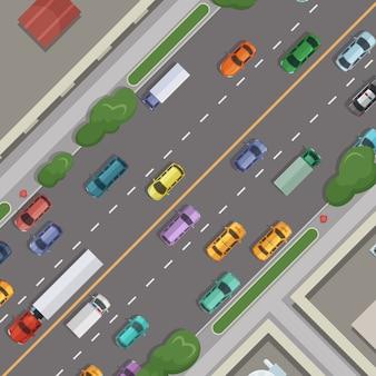 Stad weg met auto's met gebouwen