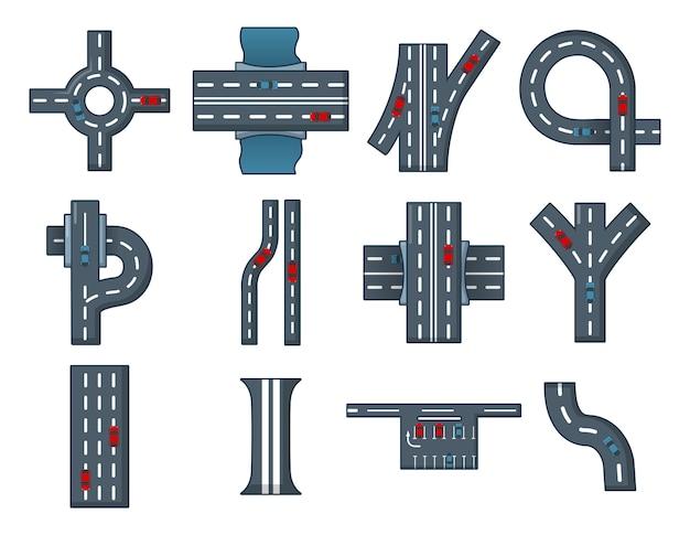 Stad weg pictogramserie. beeldverhaalreeks vectorpictogrammen van de stadsweg geplaatst geïsoleerd