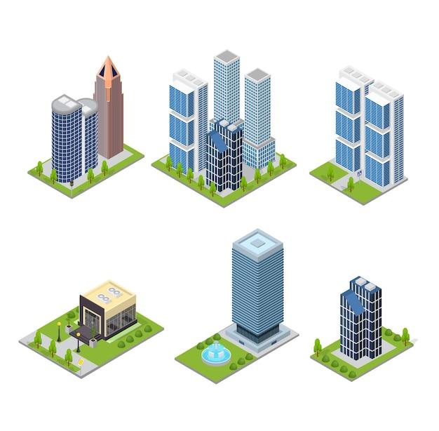 Stad wolkenkrabber en café gebouw ingesteld isometrische weergave.