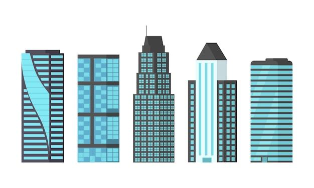 Stad wolkenkrabbers geïsoleerde illustratie