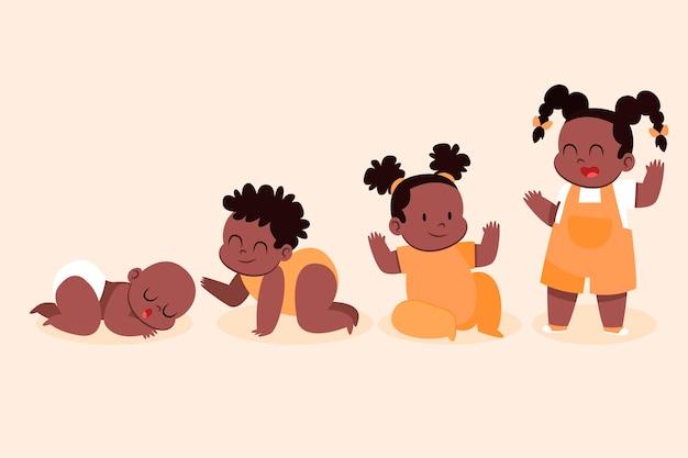 Stadia van een plat ontwerp van een babymeisje