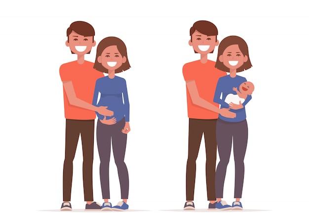Stadia van gezinsontwikkeling. zwangerschap en de geboorte van het kind.