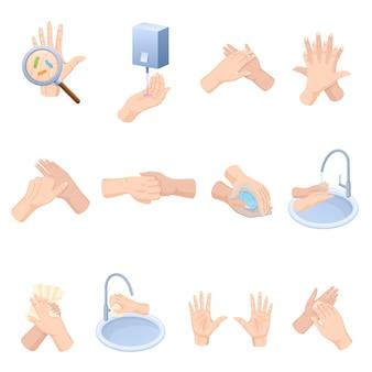 Stadia van goede verzorging van handen, wassen, preventief onderhoud van bacteriën