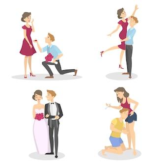 Stadia van het gezinsleven. aanzoek, verloving, huwelijk en zwangerschap. romantische relatie. liefdevolle man en vrouw. geïsoleerde vectorillustratie in cartoon stijl