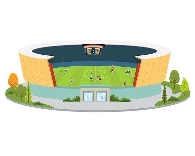 Stadion met voetballers spelen