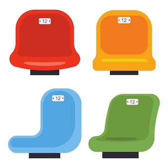 Stadion stoelen cartoon set geïsoleerd op een witte achtergrond.