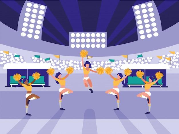 Stadionscène met groep cheerleaders