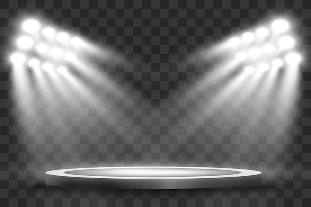 Stadionschijnwerpers verlichten 's avonds of' s nachts sportwedstrijden, concerten, shows, evenementen. geïsoleerd op een transparante achtergrond. arena's van felle schijnwerpers. felle lampen. verlichte scène.