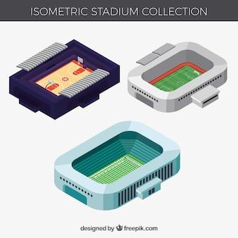 Stadionscollectie in isometrische stijl