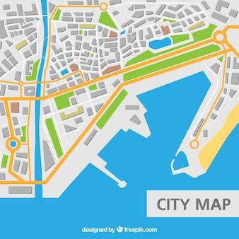 Stads kaart met zee