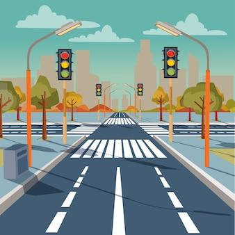 Stads kruispunt met verkeerslichten, wegmarkeringen, trottoir voor voetgangers