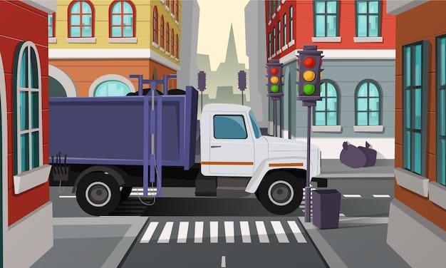 Stads kruispunten met vuilniswagen. auto met vuilnis, gemeentelijke dienst.