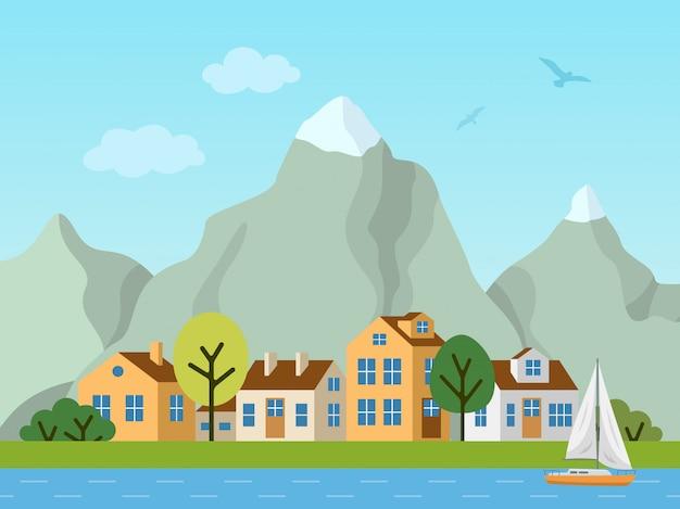 Stads stedelijk vectorlandschap, plattelandshuisjes en bergen