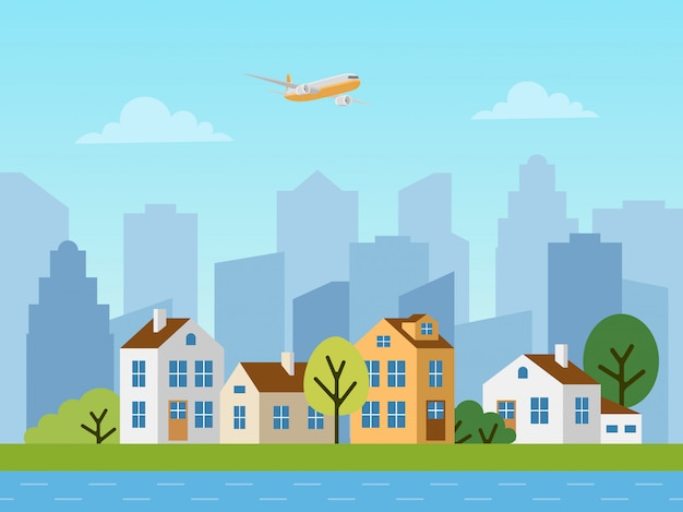 Stads stedelijk vectorlandschap, plattelandshuisjes en wolkenkrabbers
