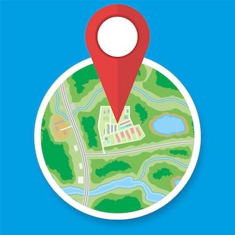 Stads voorstedelijke cirkel kaart met marker