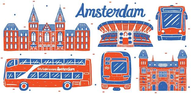 Stadsbeeld van amsterdam in platte ontwerpstijl