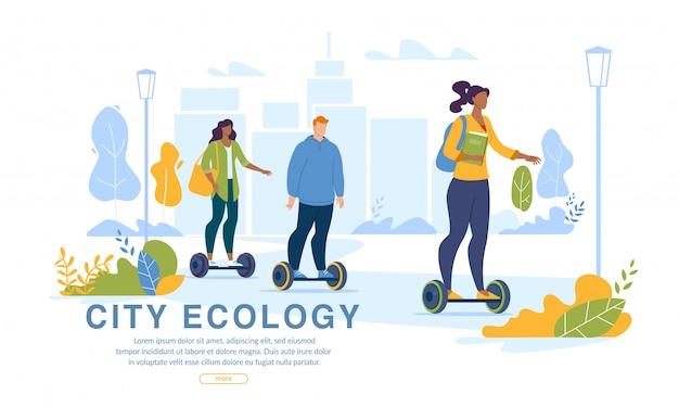 Stadsbewoners driving ecology transport webpagina