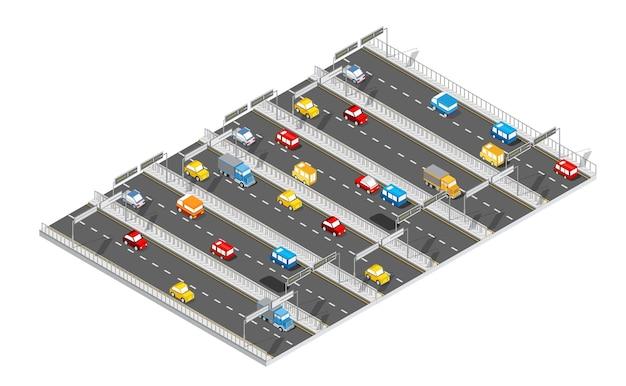 Stadsboulevard isometrische laan. transportwagen, stad en asfalt, verkeer. kruising wegen plat dimensionaal van openbare stad