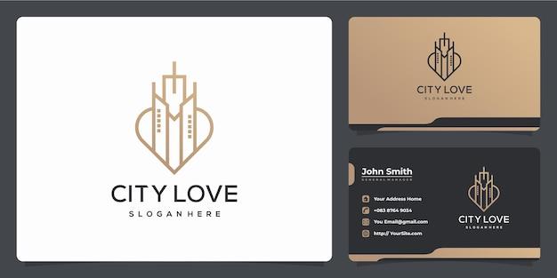 Stadsbouwcombinatie met liefdesvorm monoline luxe logo-ontwerp en visitekaartje