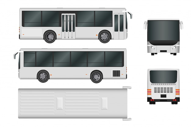 Stadsbus sjabloon. passagiersvervoer alle kanten bekijken van boven, zijkant, achterkant en voorkant