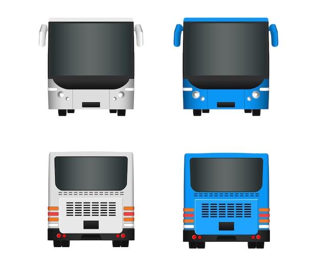 Stadsbus sjabloon. set passagiersvervoer zijaanzicht van achteren en van voren. vector illustratie eps 10 geïsoleerd op een witte achtergrond.