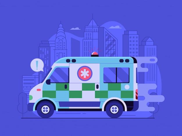 Stadsconcept voor medische noodhulp met snelle ambulanceauto die reageert op een pandemie van het coronavirus.