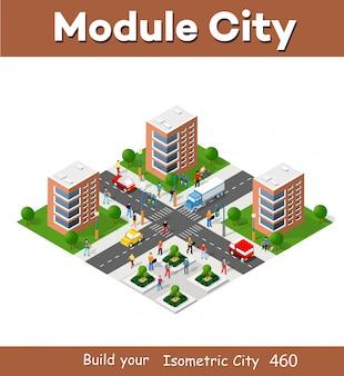 Stadsdistrict van de stad in isometrisch landschap