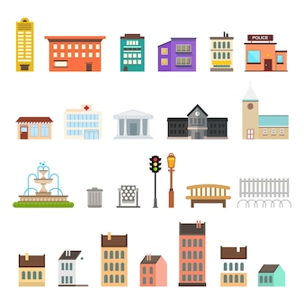 Stadselementen in plat ontwerp