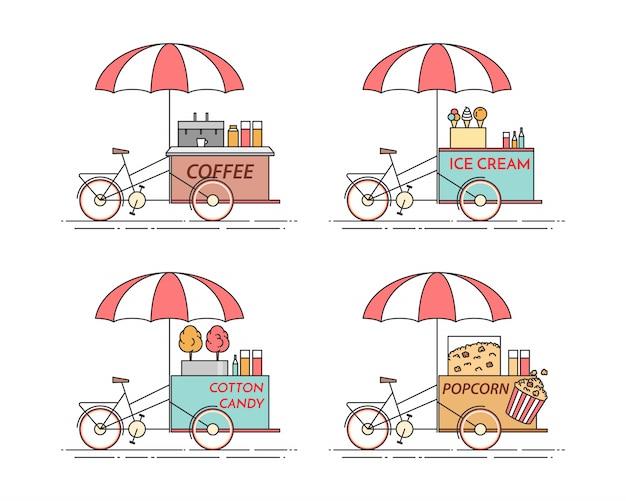 Stadselementen van koffie, popcorn, ijs, suikerspinfietsen.