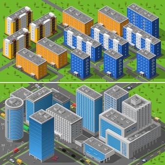 Stadsgebouwen 2 banners isometrische samenstelling