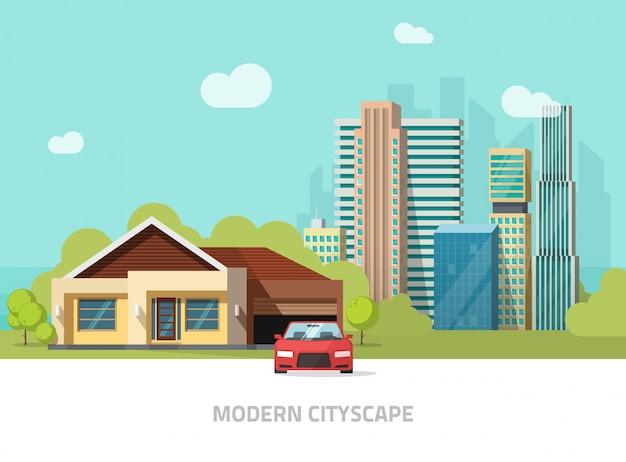 Stadsgebouwen achter cottage thuis vectorillustratie of moderne stadslandschap met wolkenkrabbers vlakke stijl