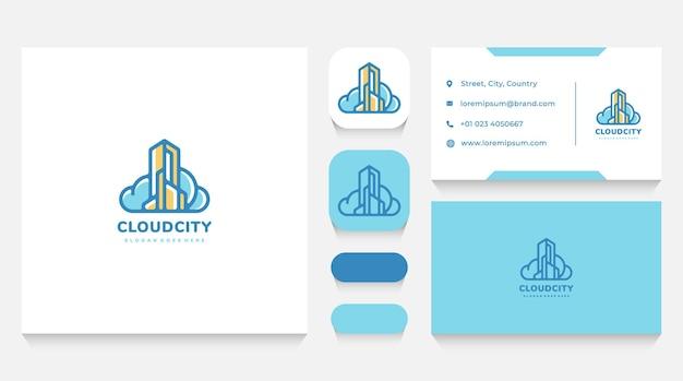 Stadsgebouwen en cloud logo-sjabloon en visitekaartje