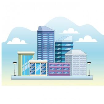 Stadsgebouwen en straatlantaarnsontwerp