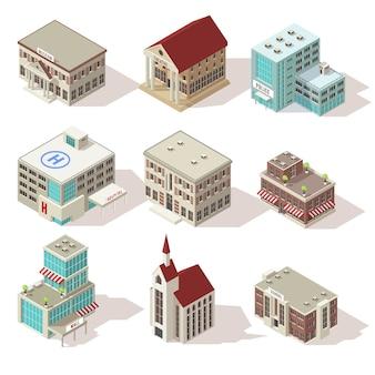Stadsgebouwen isometrische icons set