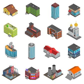 Stadsgebouwen isometrische pictogrammen instellen