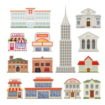 Stadsgebouwen met de koffie en de bioskoop geïsoleerde vectorillustratie die van het administratieve en woningbouwhotel worden geplaatst