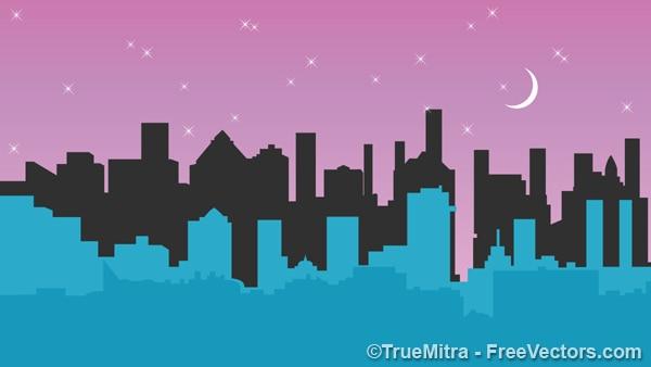 Stadsgebouwen onder de maan