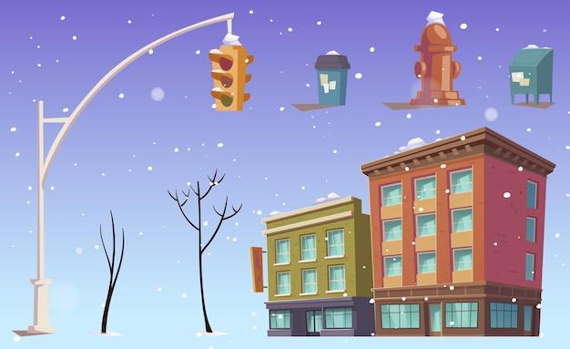 Stadsgebouwen, verkeerslichten, vuilnisbakken op straat, bomen en vallende sneeuw.