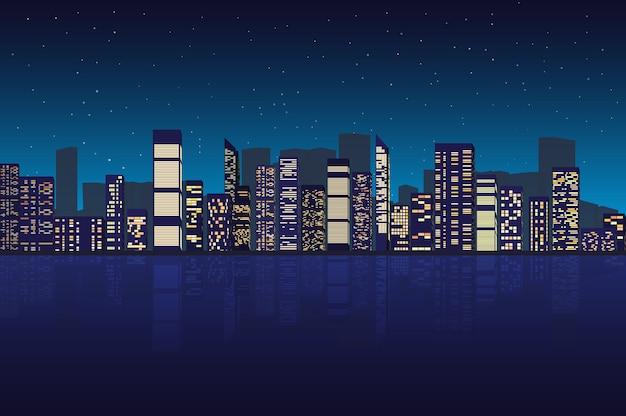 Stadsgezicht bij nacht illustratie