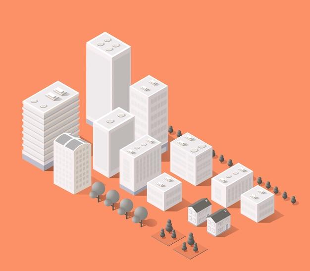 Stadsgezicht elementen met isometrisch gebouw