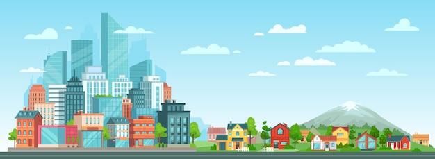 Stadsgezicht in de voorsteden en steden