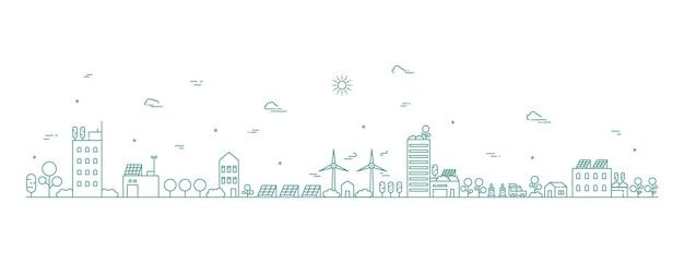 Stadsgezicht lijn kunst illustratie stedelijk landschap in zwart-wit lijn kunststijl